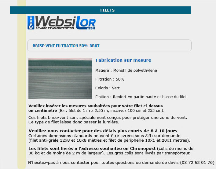 Informations techniques Filet brise-vent 50% filtration sans bande