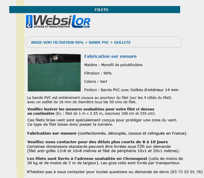 Informations techniques Filet brise-vent 90% filtration avec bande pvc
