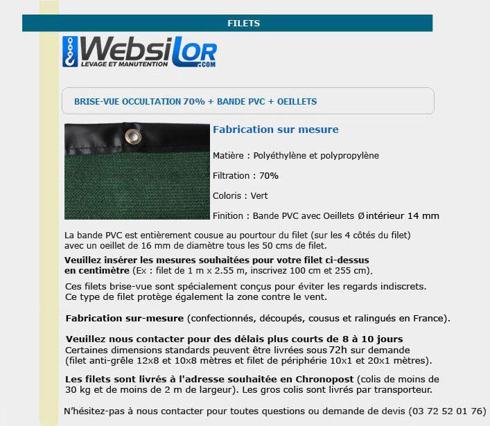 Informations techniques Filet brise-vue 85% occultation avec bande pvc