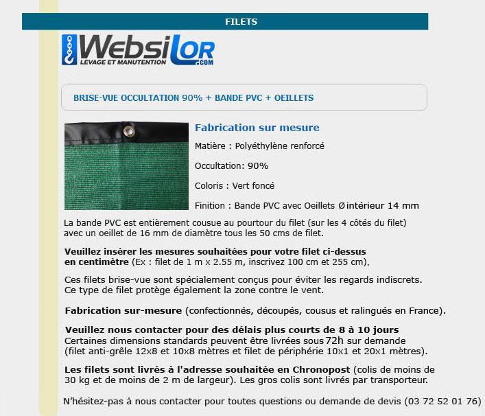 Informations techniques Filet brise-vue 95% occultation avec bande pvc