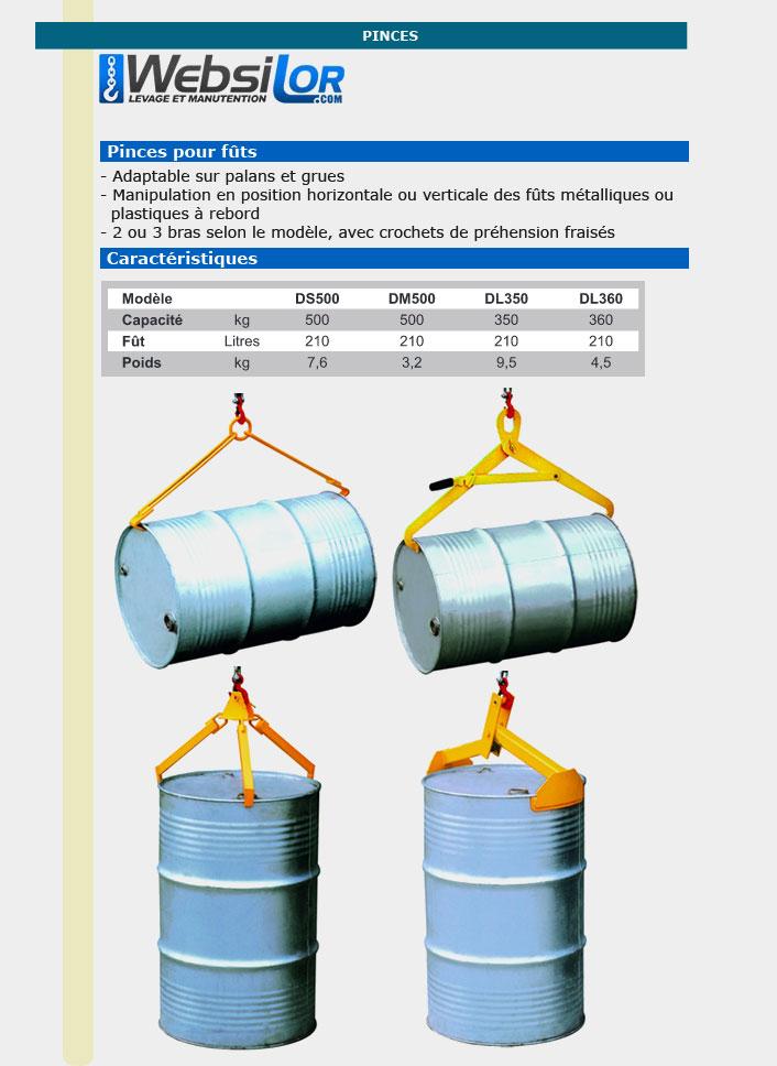 Informations techniques Pince à fût économique - 500kg