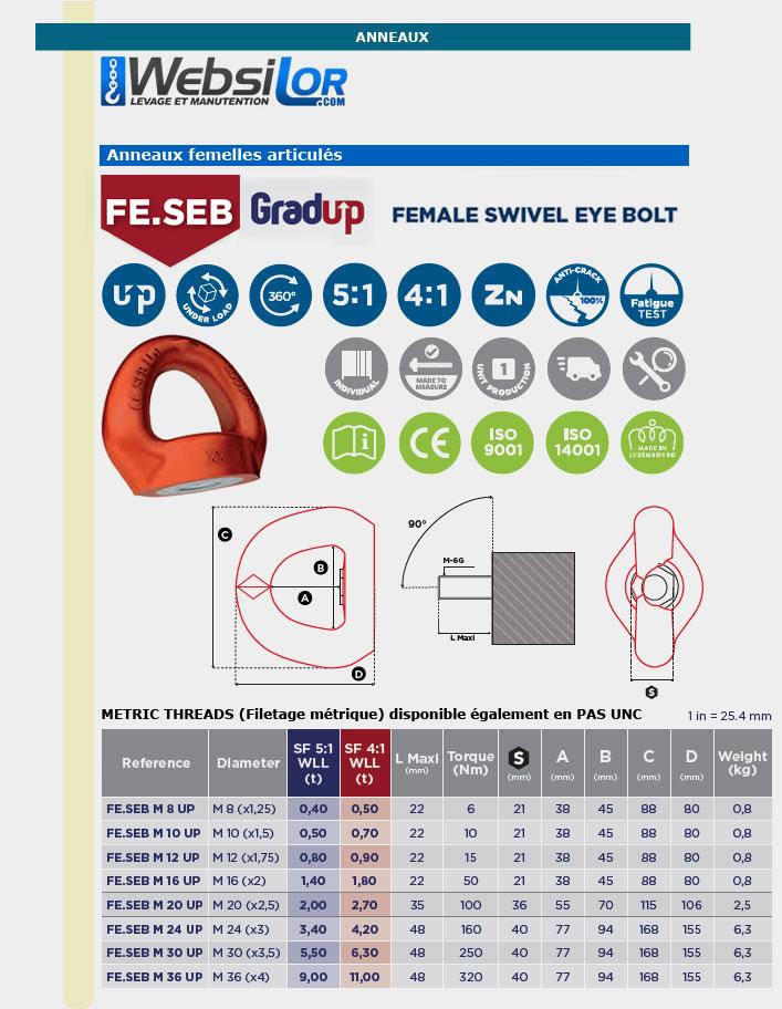 Informations techniques Anneau de levage articulé femelle FESEB - 8 à 30 mm