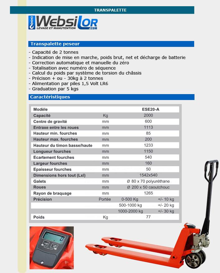 Informations techniques Transpalette peseur - 2000kg