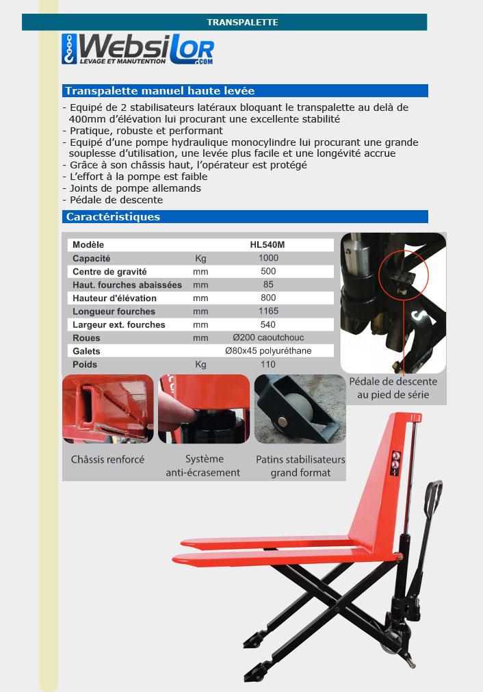 Informations techniques Transpalette à haute levée manuel - 1 tonne
