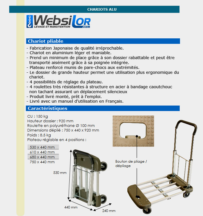 Informations techniques Chariot aluminium à barres télescopiques - 150 kg