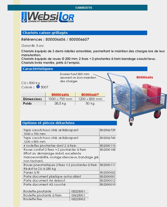 Informations techniques Chariot caisse - 500 kg