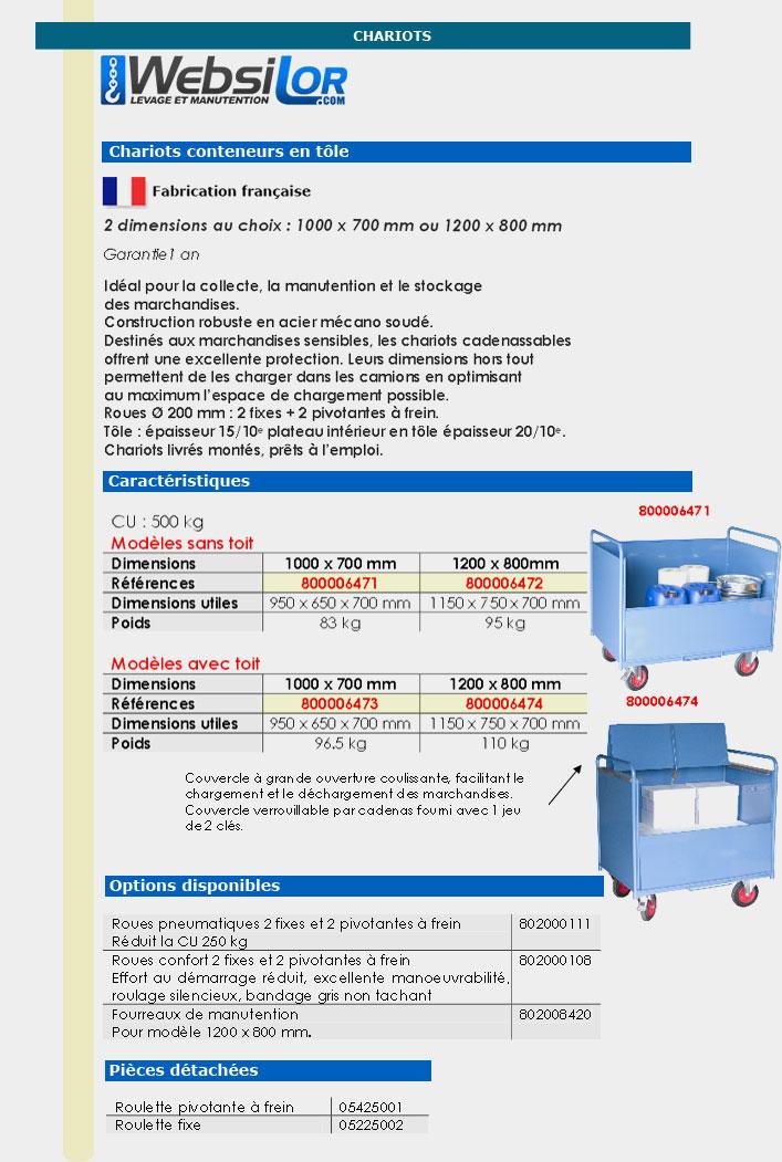 Informations techniques Chariot conteneur en tôle - 500 kg