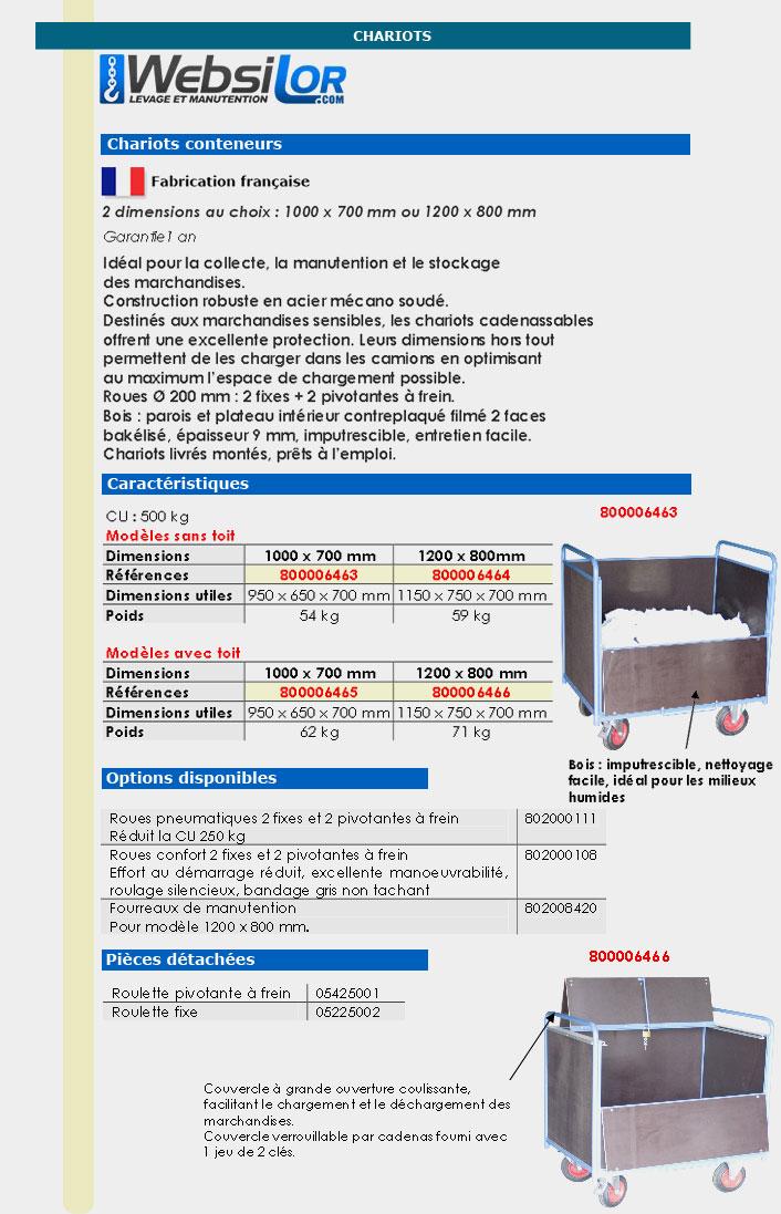 Informations techniques Chariot conteneur bois - 500 kg