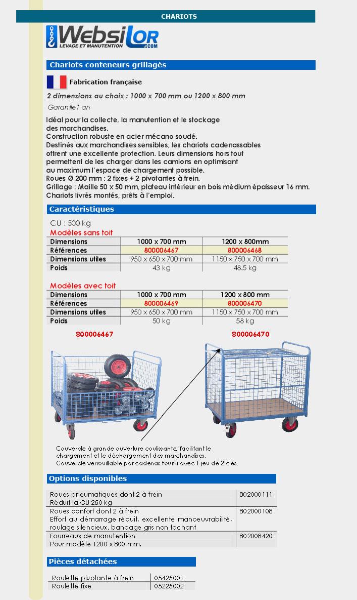Informations techniques Chariot conteneur - 500 kg