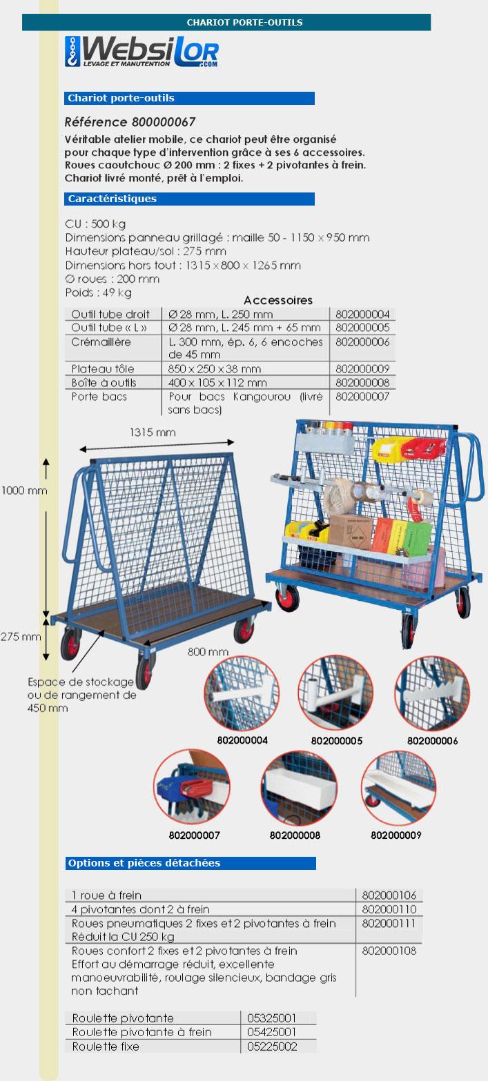 Informations techniques Chariot porte-outils - 500 kg
