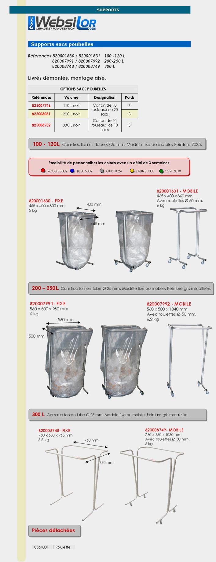 Informations techniques Support sac poubelle fixe - 100 à 120 L