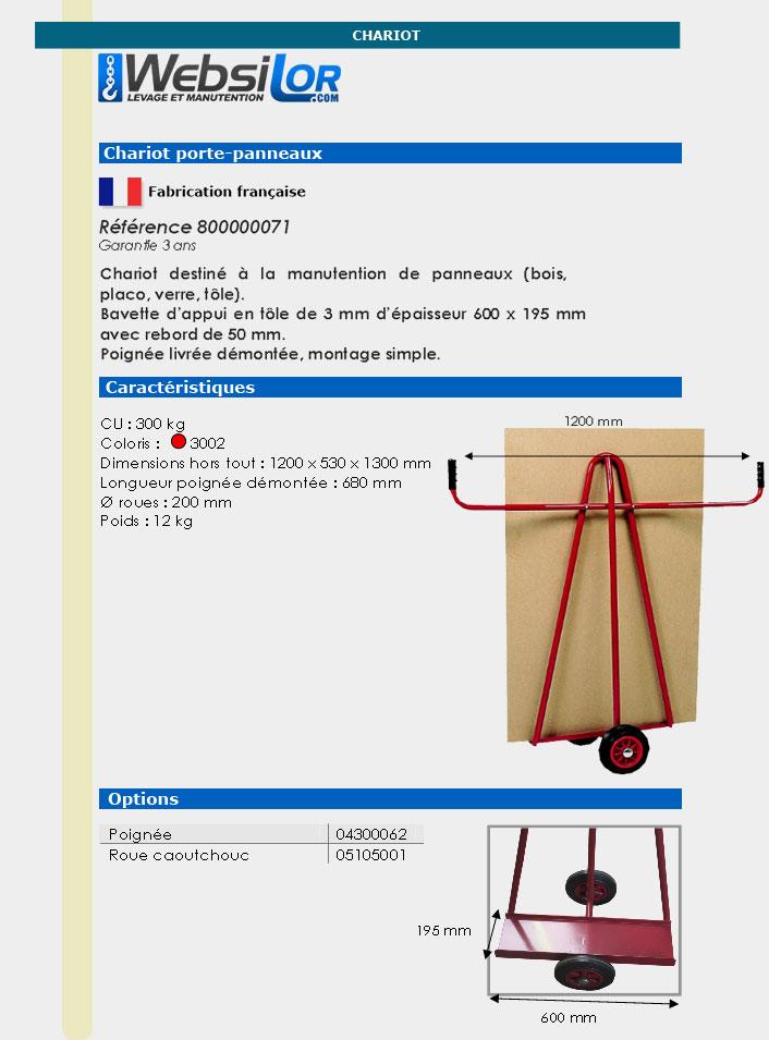 Informations techniques Chariot porte panneaux - 300 kg