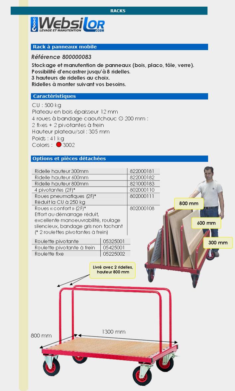 Informations techniques Chariot porte panneaux mobile - 500 kg