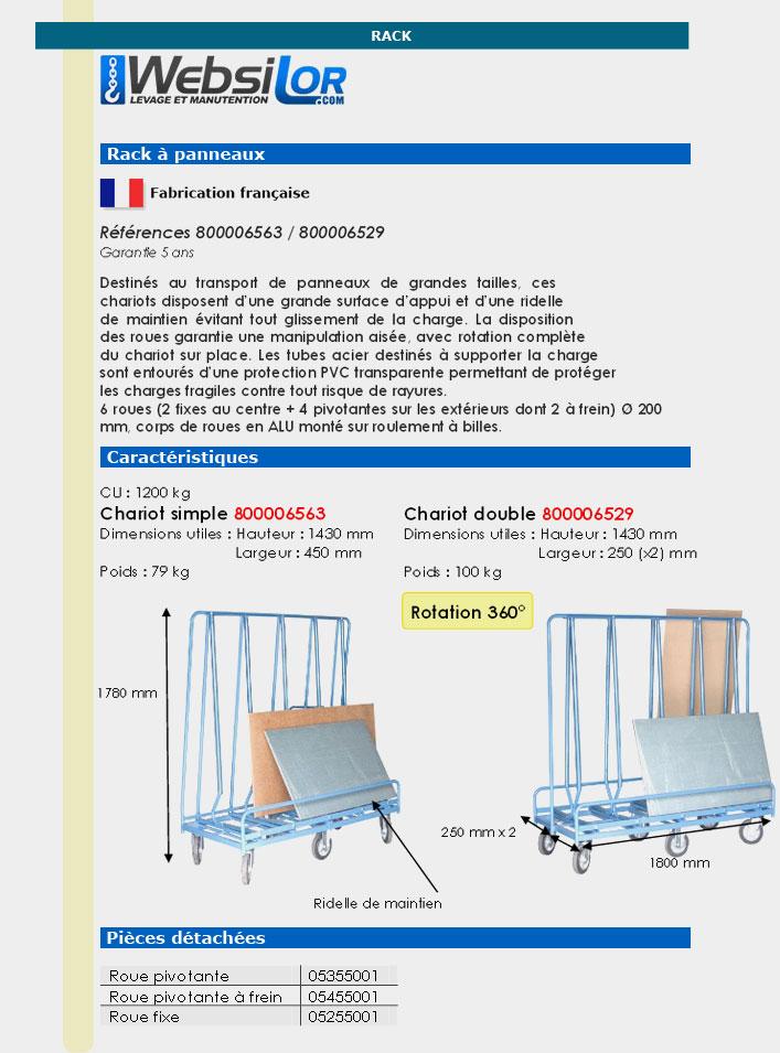 Informations techniques Chariot porte-baies - 1200 kg