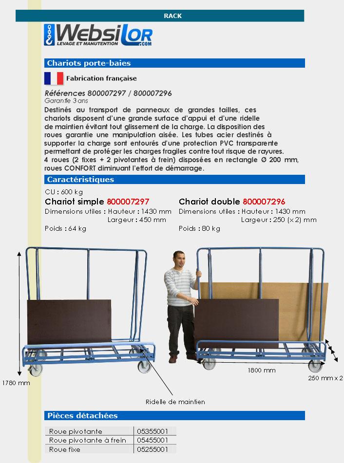 Informations techniques Chariot porte-baies - 600 kg