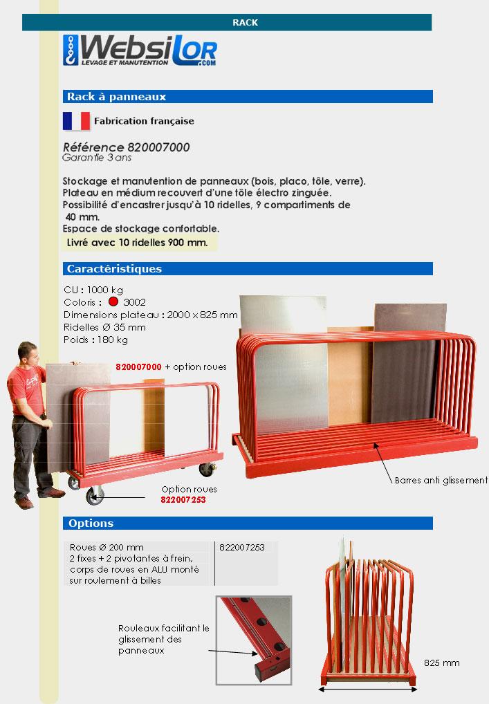 Informations techniques Rack à panneaux - 1000 kg