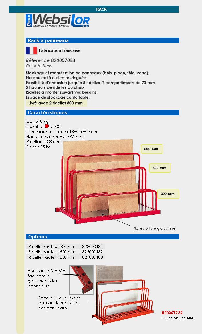 Informations techniques Rack à panneaux - 500 kg