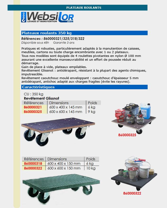 Informations techniques Plateau roulant - 350 kg