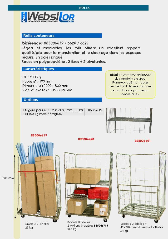 Informations techniques Roll conteneur équipé de 2 ridelles - 500 kg