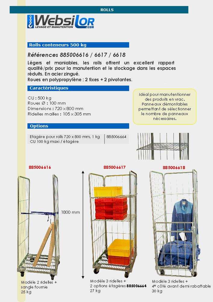 Informations technique de Roll conteneur à 3 ridelles et 1 demi - 500 kg