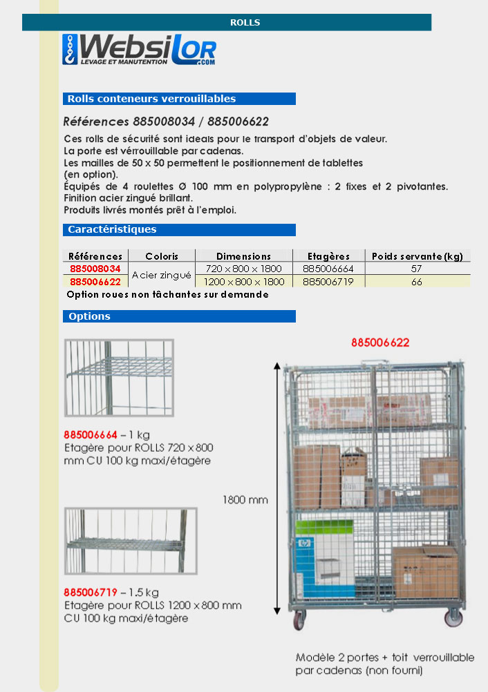 Informations techniques Roll conteneur équipé de 2 portes - 500 kg