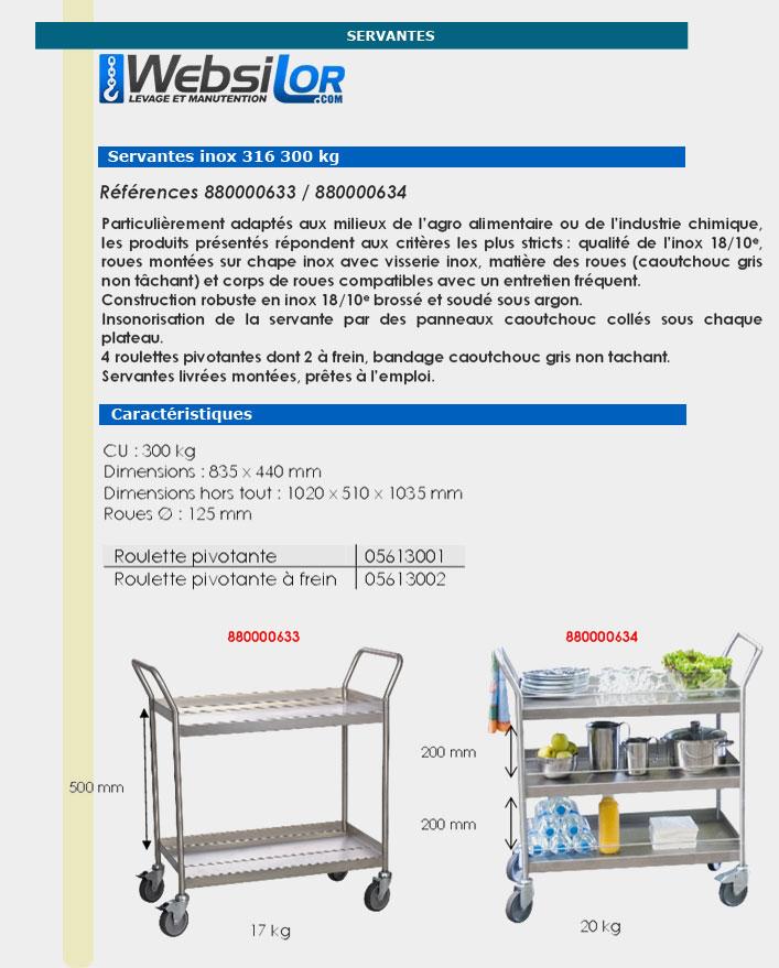 Informations techniques Servante en inox 316 - 2 plateaux - 300 kg