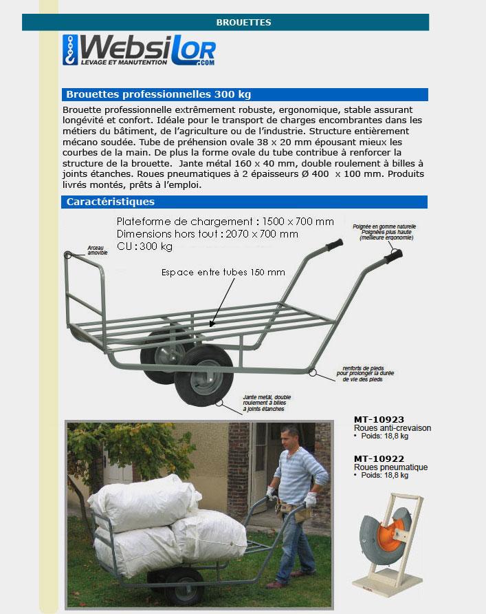 Informations techniques Brouette pour charges longues - 300 kg
