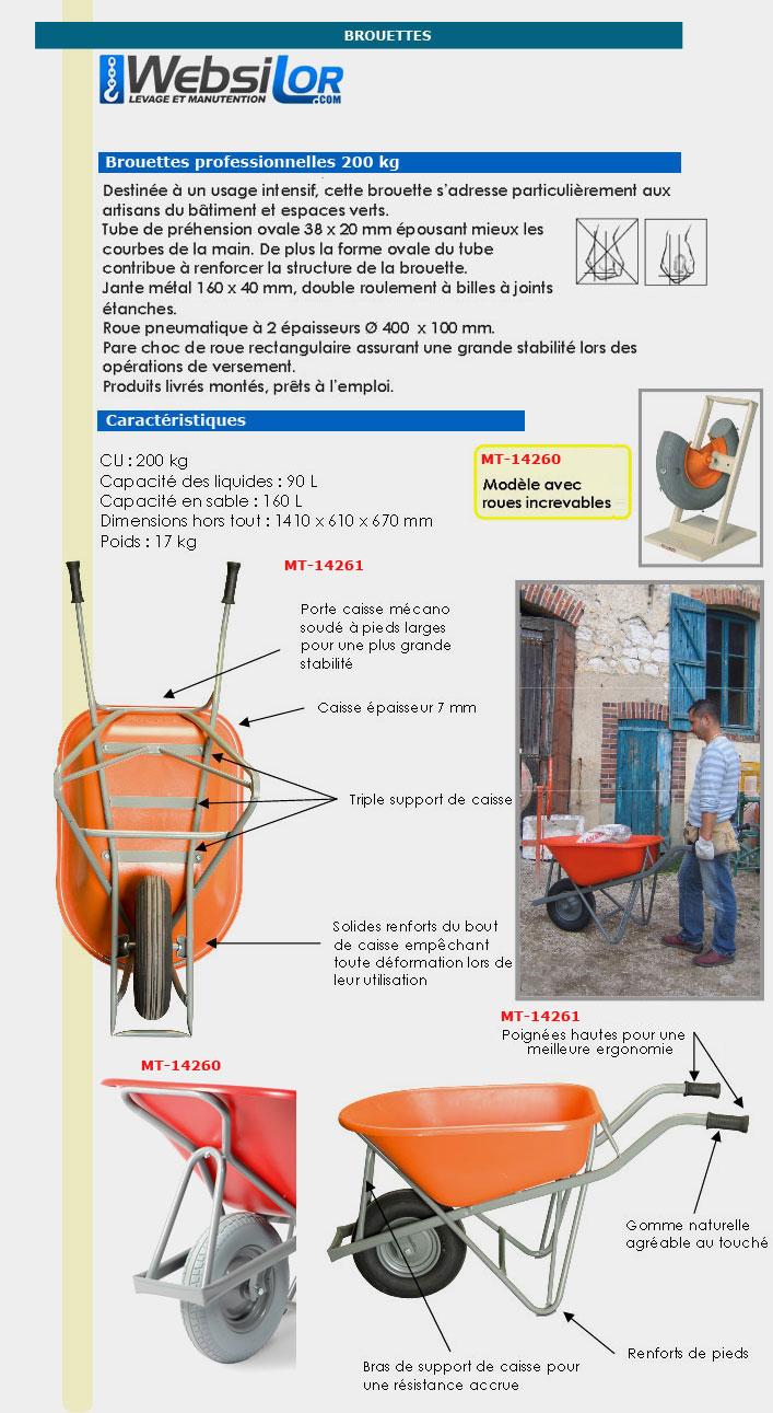 Informations techniques Brouette équipée d'une caisse PEHD - 250 kg