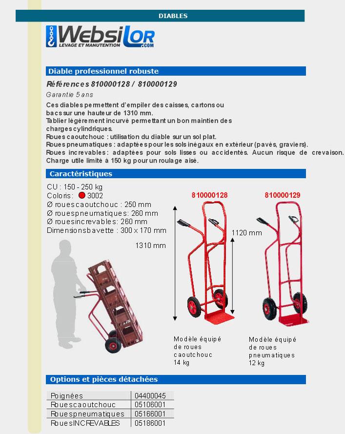 Informations techniques Diable pour charges hautes - 250 kg - 1310 mm de hauteur