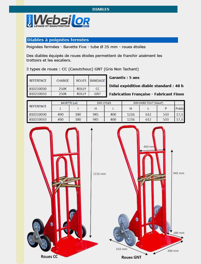 Informations techniques Diable professionnel à bavette fixe - 250 kg