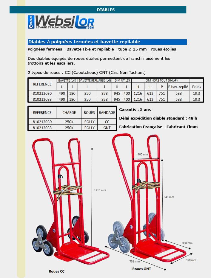 Informations techniques Diable professionnel à bavette repliable - 250 kg