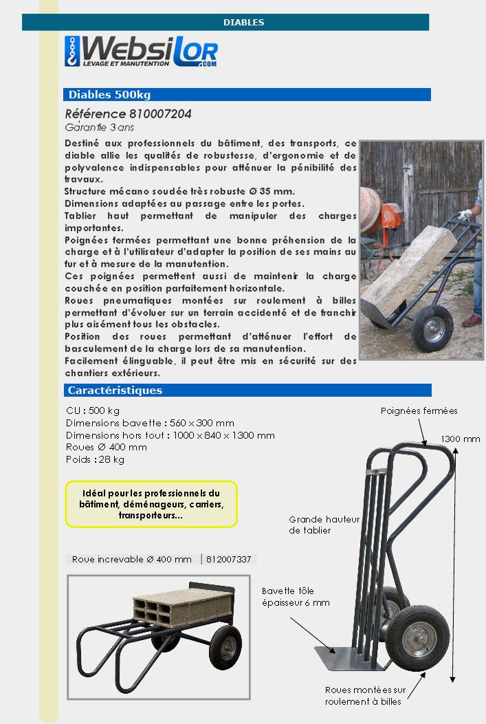 Informations techniques Diable de chantier - 500 kg