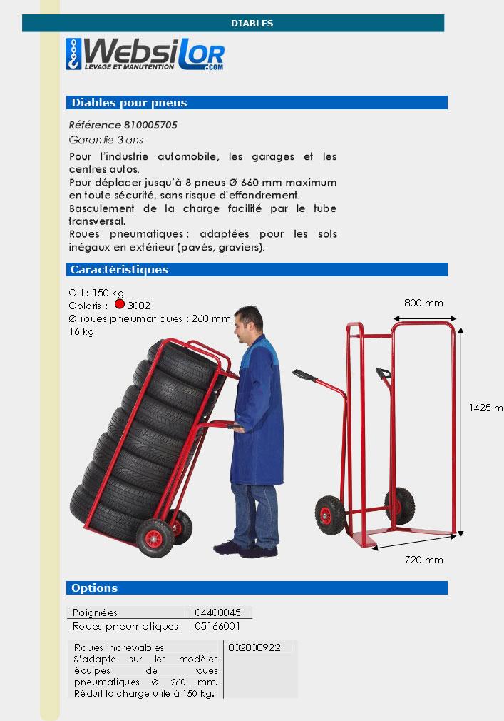 Informations techniques Diable à pneus 150 kg