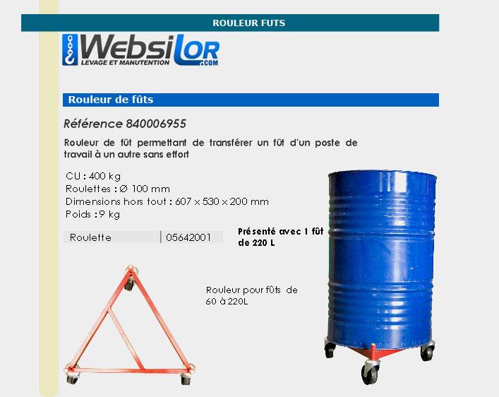 Informations technique de Rouleur de fûts - 400 kg