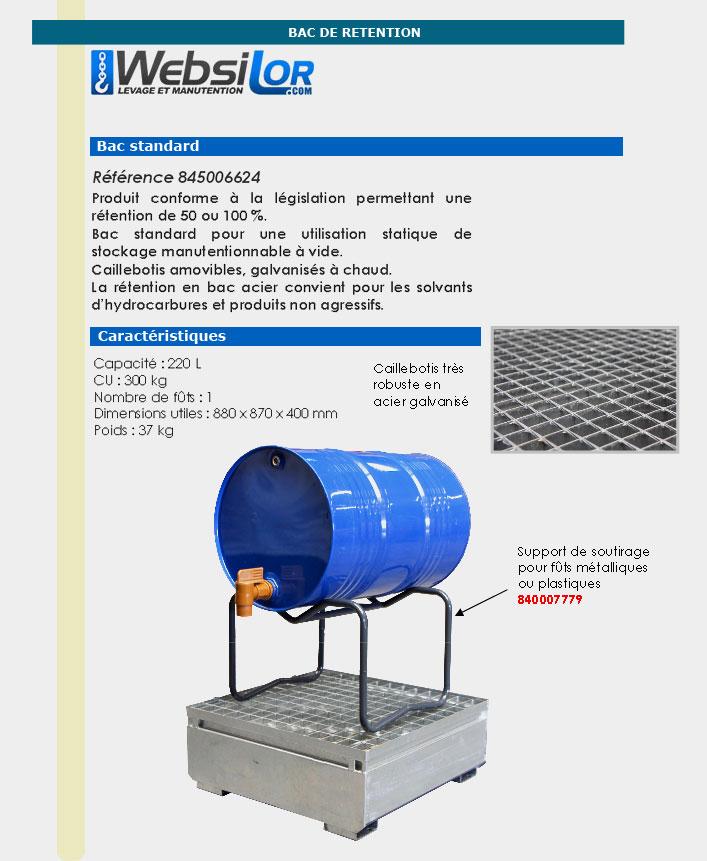 Informations techniques Bac de rétention en acier galvanisé - 1 fût 220 L