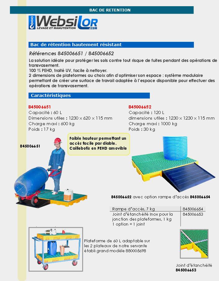 Informations techniques Plateforme de rétention en PEHD - 60 L