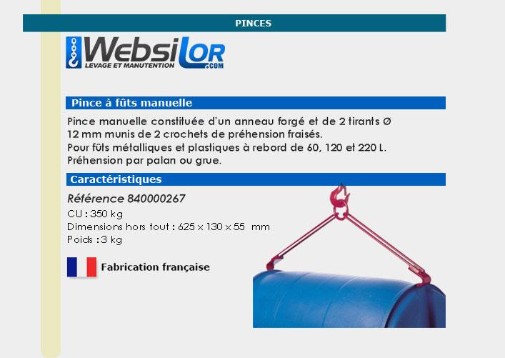 Informations techniques Pince à fût manuelle pour fûts - 350 kg