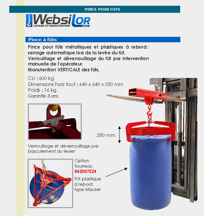Informations techniques Pince à fût semi automatique - 600 kg