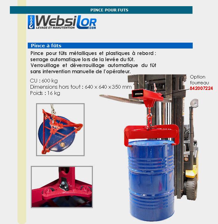 Informations techniques Pince à fût automatique - 600 kg