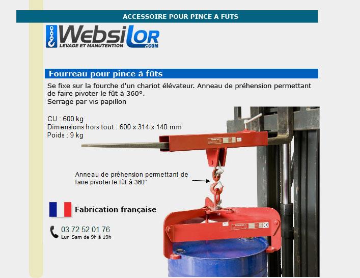 Informations techniques Fourreau pour pince à fût - 600 kg