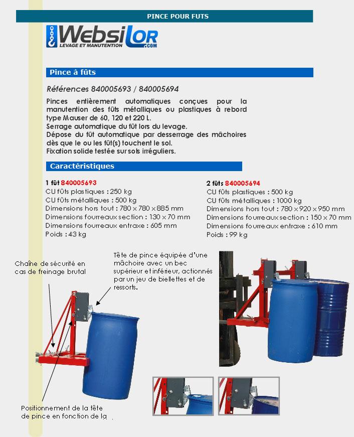 Informations techniques Pince à fût automatique universelle - 250 à 500kg