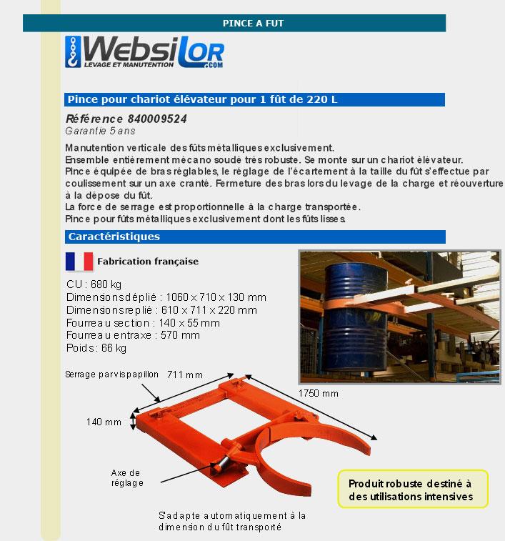 Informations techniques Pince réglable pour fût métallique 220L - 680kg