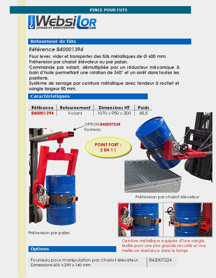 Informations techniques Retourneur de fûts métalliques - 400 kg