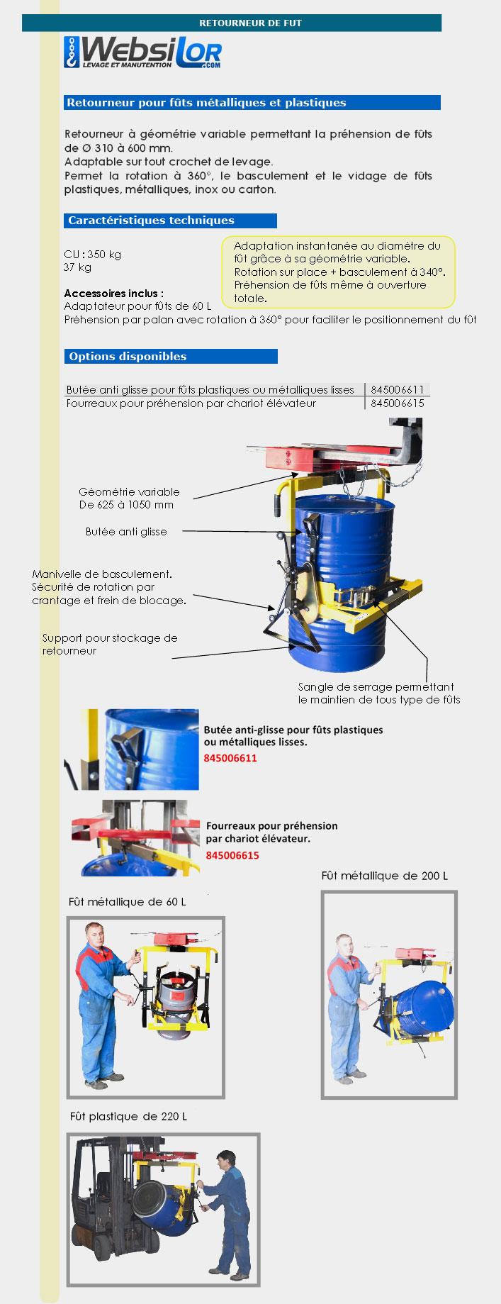 Informations techniques Retourneur pour fûts - 350 kg