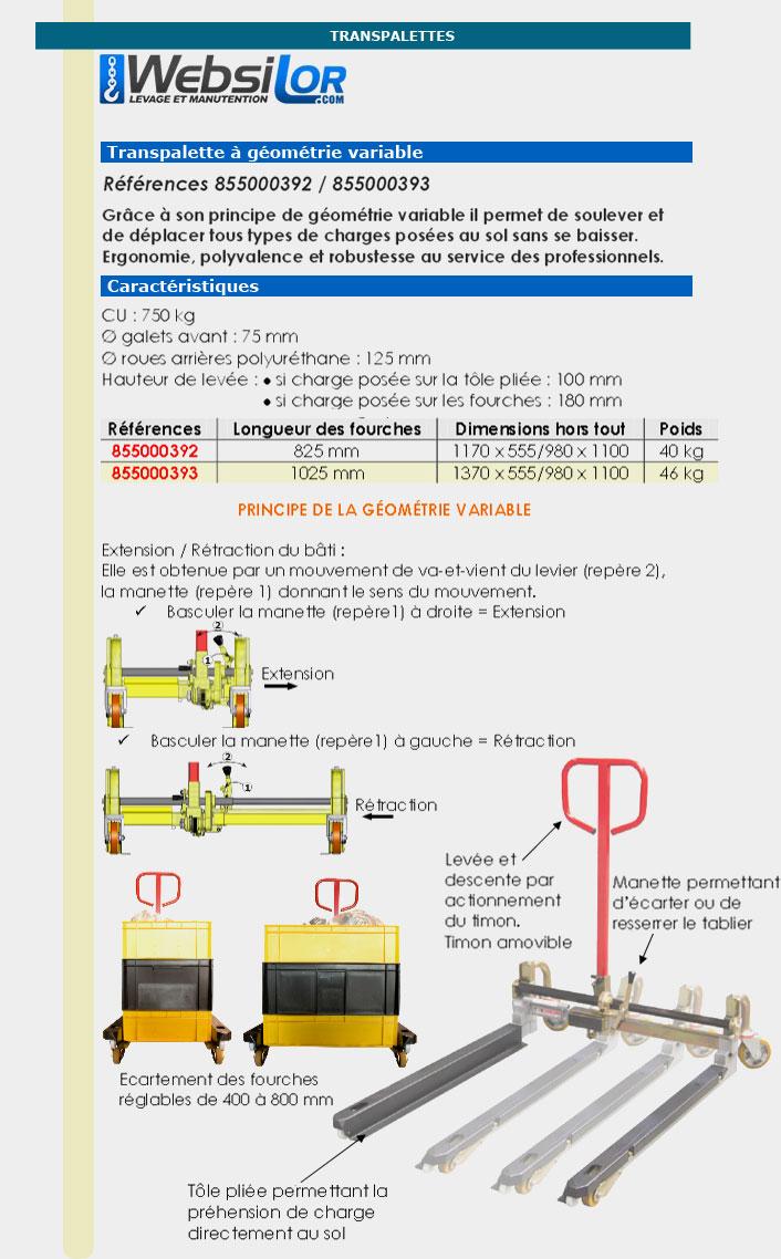 Informations techniques Transpalette à géométrie variable 750 kg