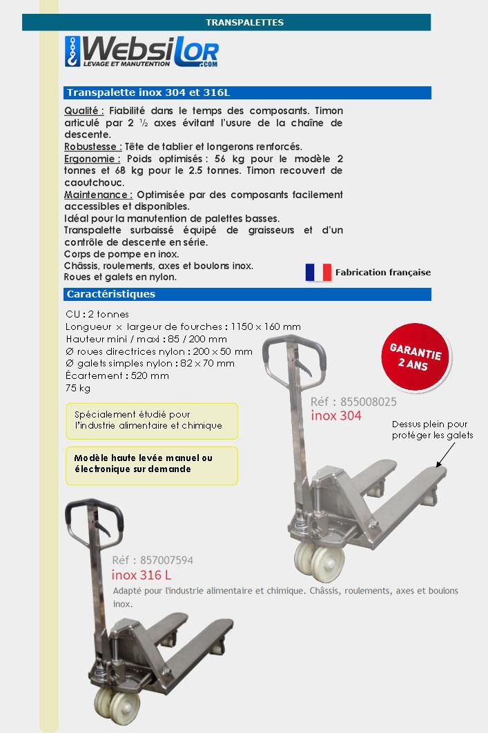 Informations techniques Transpalette inox 304 - 2000kg