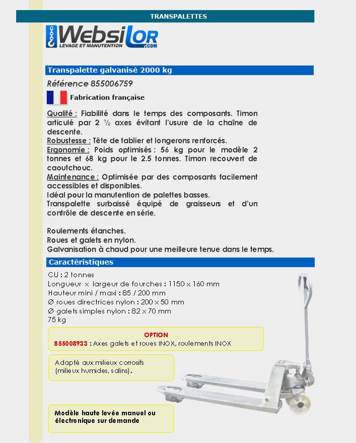 Informations techniques Transpalette galvanisé - 2000 kg