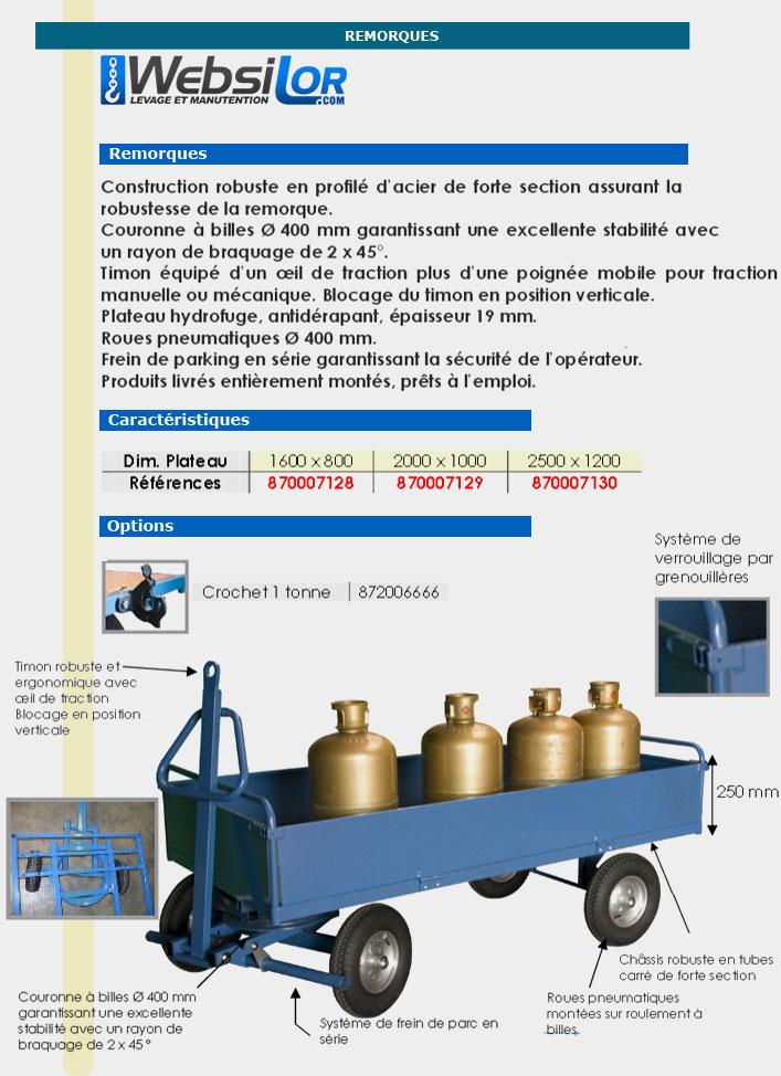 Informations techniques Remorque industrielle 1 essieu directeur - 1000 kg