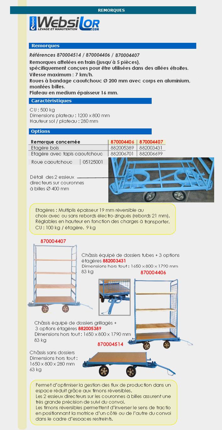 Informations techniques Remorque en train 2 essieux directeurs - 500 kg