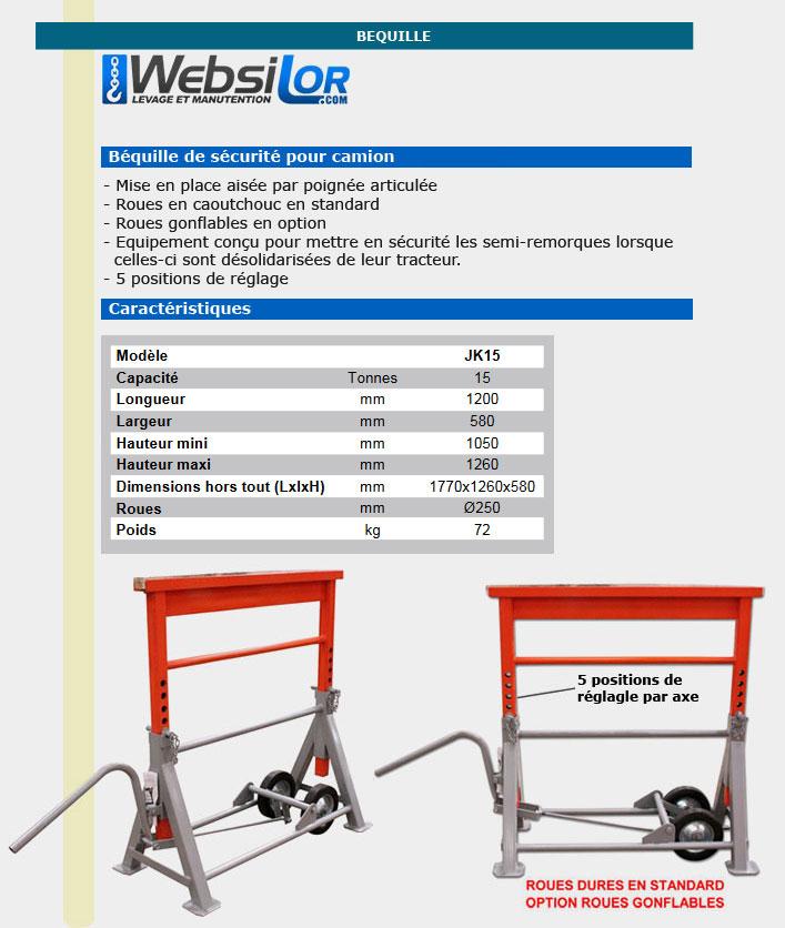 Informations techniques Béquille sécurité camion - 15 000 kg